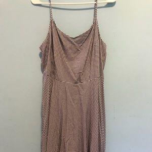Navy Gingham Midi Dress